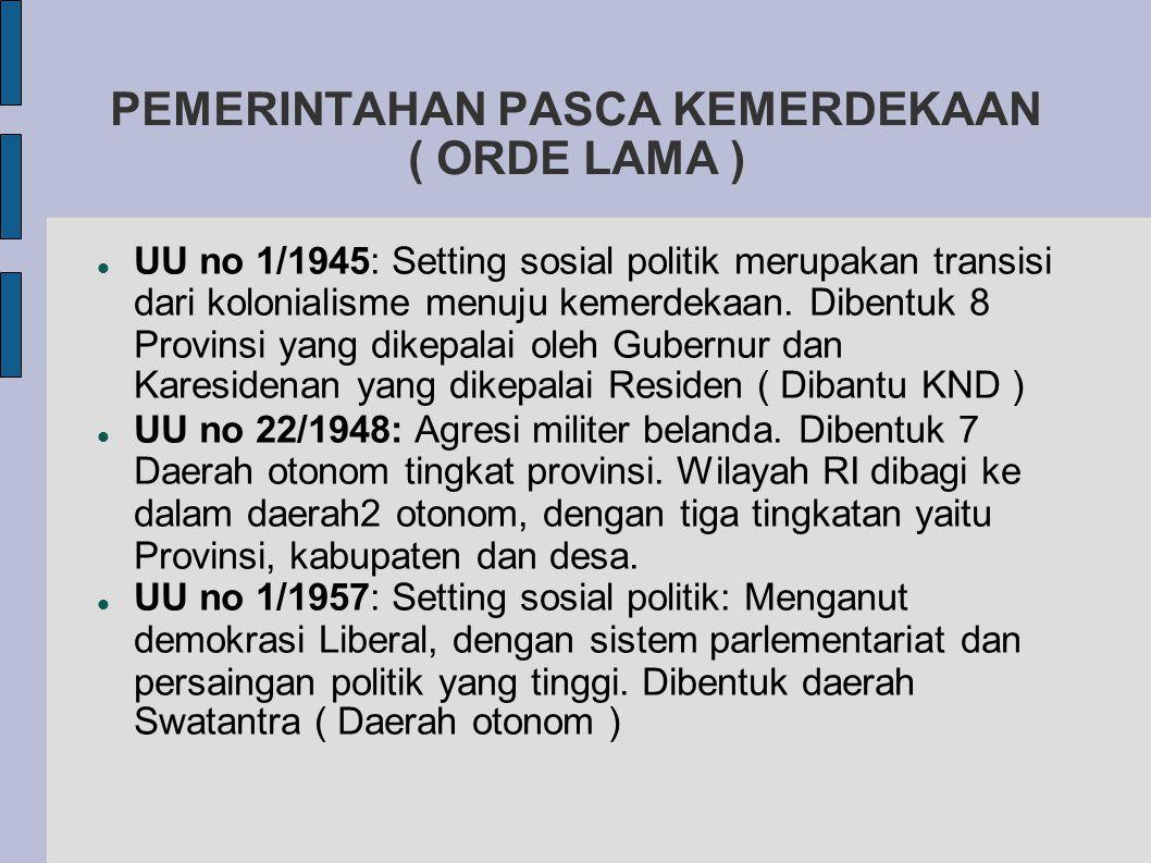 PEMERINTAHAN PASCA KEMERDEKAAN ( ORDE LAMA )  UU no 1/1945: Setting sosial politik merupakan transisi dari kolonialisme menuju kemerdekaan.