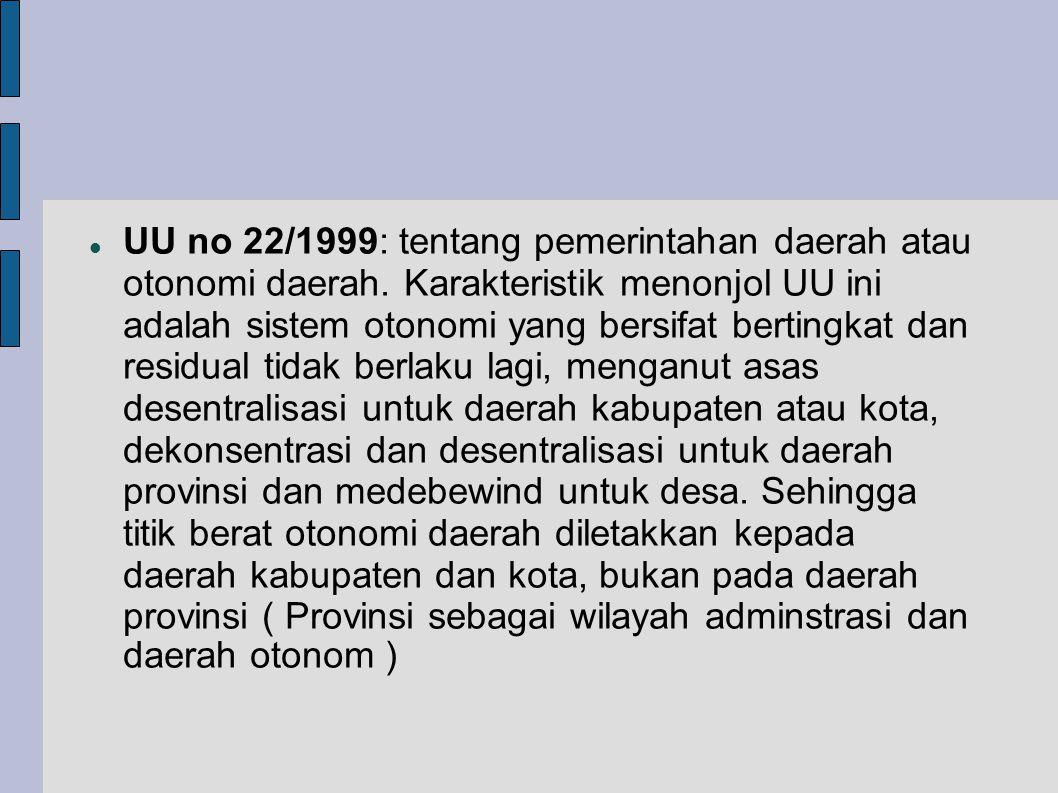 UU no 22/1999: tentang pemerintahan daerah atau otonomi daerah.