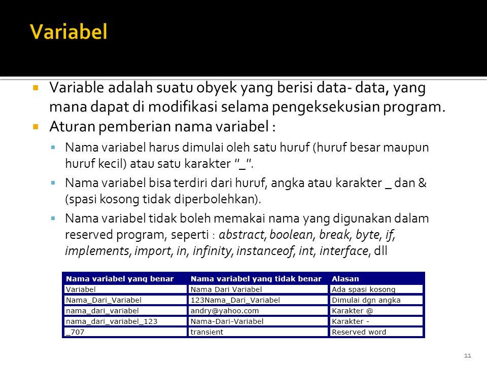 11  Variable adalah suatu obyek yang berisi data- data, yang mana dapat di modifikasi selama pengeksekusian program.
