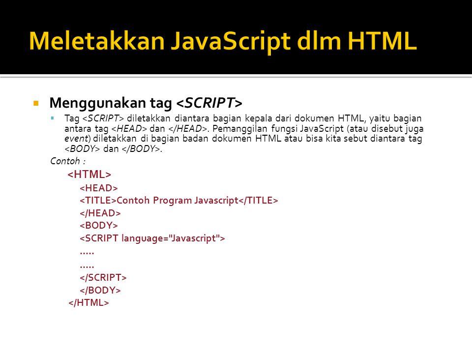  Menggunakan tag  Tag diletakkan diantara bagian kepala dari dokumen HTML, yaitu bagian antara tag dan.