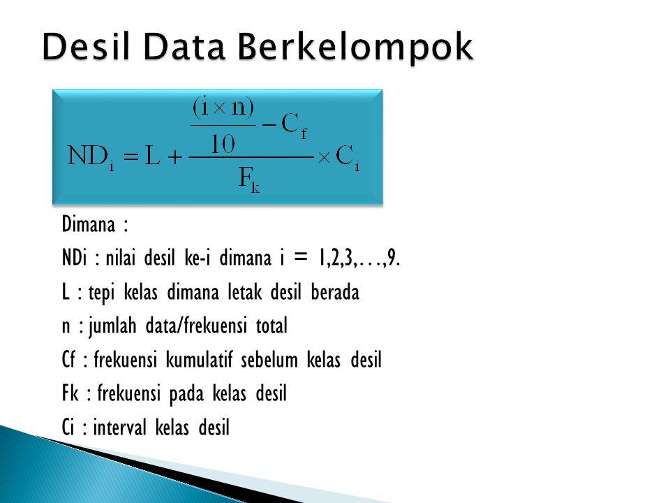 Dimana : NDi : nilai desil ke-i dimana i = 1,2,3,…,9. L : tepi kelas dimana letak desil berada n : jumlah data/frekuensi total Cf : frekuensi kumulati