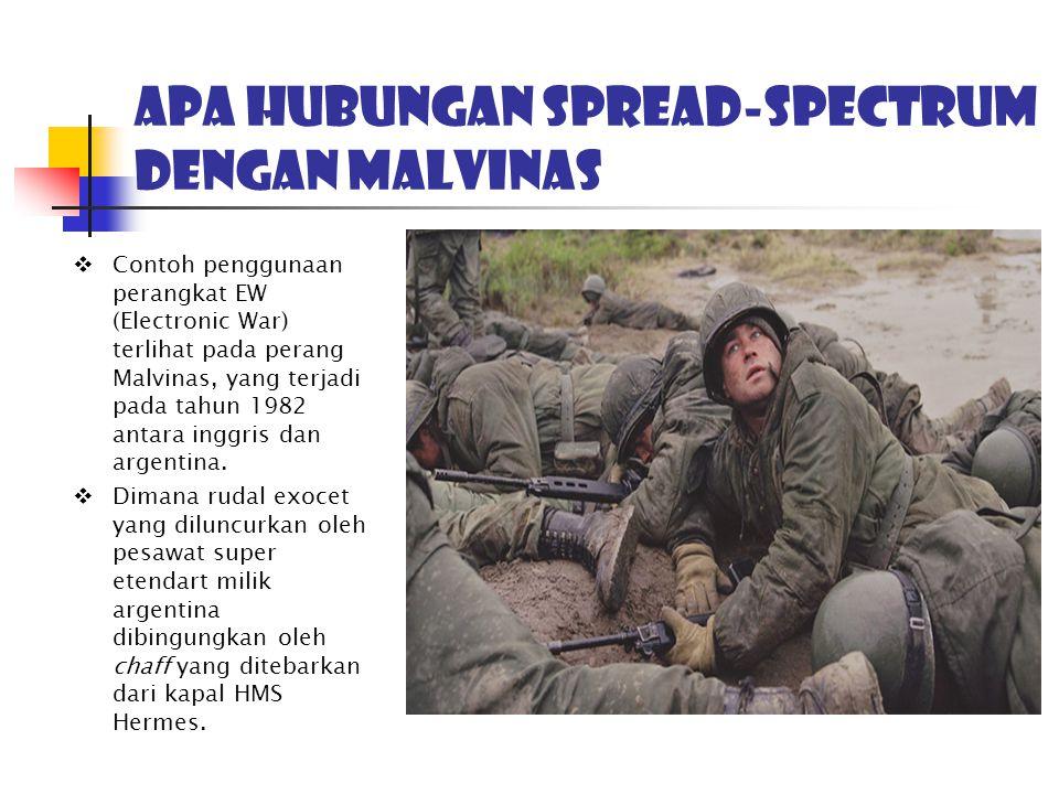 Apa hubungan spread-spectrum dengan MALVINAS  Contoh penggunaan perangkat EW (Electronic War) terlihat pada perang Malvinas, yang terjadi pada tahun