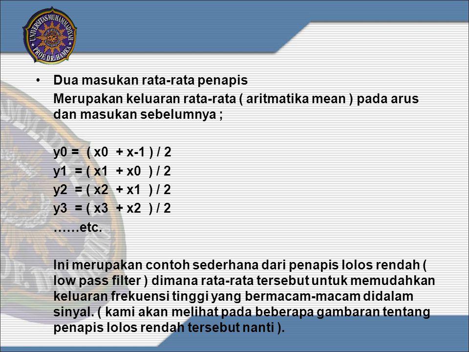 •Tiga masukan rata-rata penapis Merupakan suatu persamaan pada contoh sebelumnya, dengan rata-rata yang diambil atau diberikan pada arus dan dua masukan sebelumnya ; y0 = ( x0 + x-1 + x-2 ) / 3 y1 = ( x1 + x0 + x-1 ) / 3 y2 = ( x2 + x1 + x0 ) / 3 y3 = ( x3 + x2 + x1 ) / 3 ……etc.