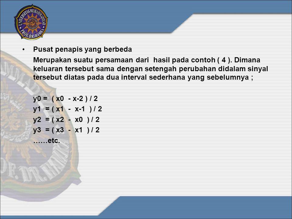 •Pusat penapis yang berbeda Merupakan suatu persamaan dari hasil pada contoh ( 4 ). Dimana keluaran tersebut sama dengan setengah perubahan didalam si
