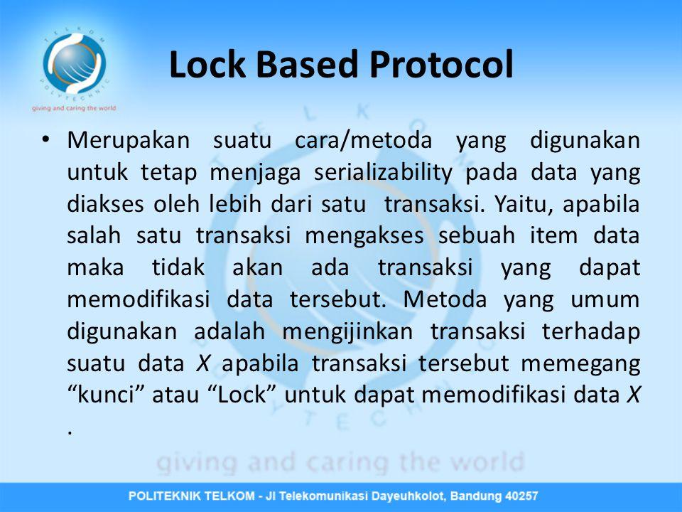 Lock Based Protocol • Merupakan suatu cara/metoda yang digunakan untuk tetap menjaga serializability pada data yang diakses oleh lebih dari satu transaksi.