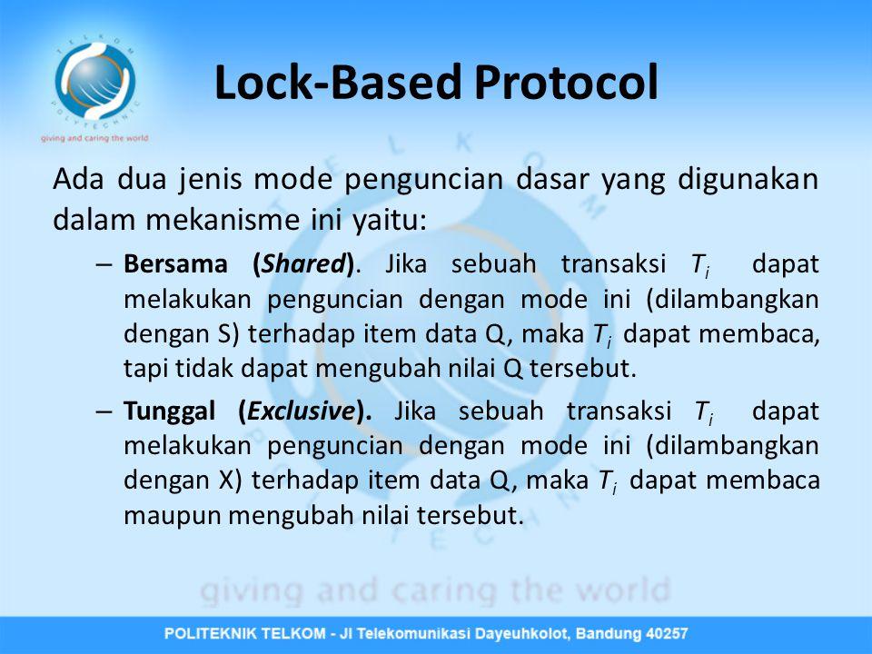 Lock-Based Protocol Ada dua jenis mode penguncian dasar yang digunakan dalam mekanisme ini yaitu: – Bersama (Shared).