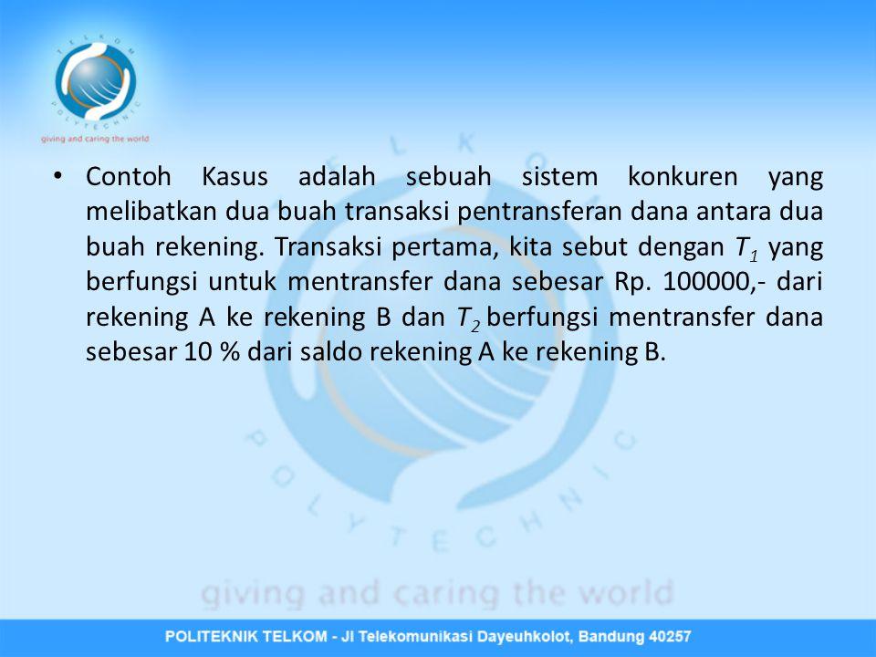 • Contoh Kasus adalah sebuah sistem konkuren yang melibatkan dua buah transaksi pentransferan dana antara dua buah rekening. Transaksi pertama, kita s