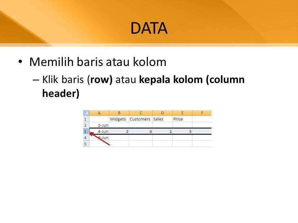 DATA • Copy, Cut dan Paste data – Pilih cell yang akan dicopy, paste atau cut – Klik tab Home, klik Copy (untuk copy) – Klik tab Home, klik Paste(untuk paste) – Klik tab Home, klik Cut(untuk cut)
