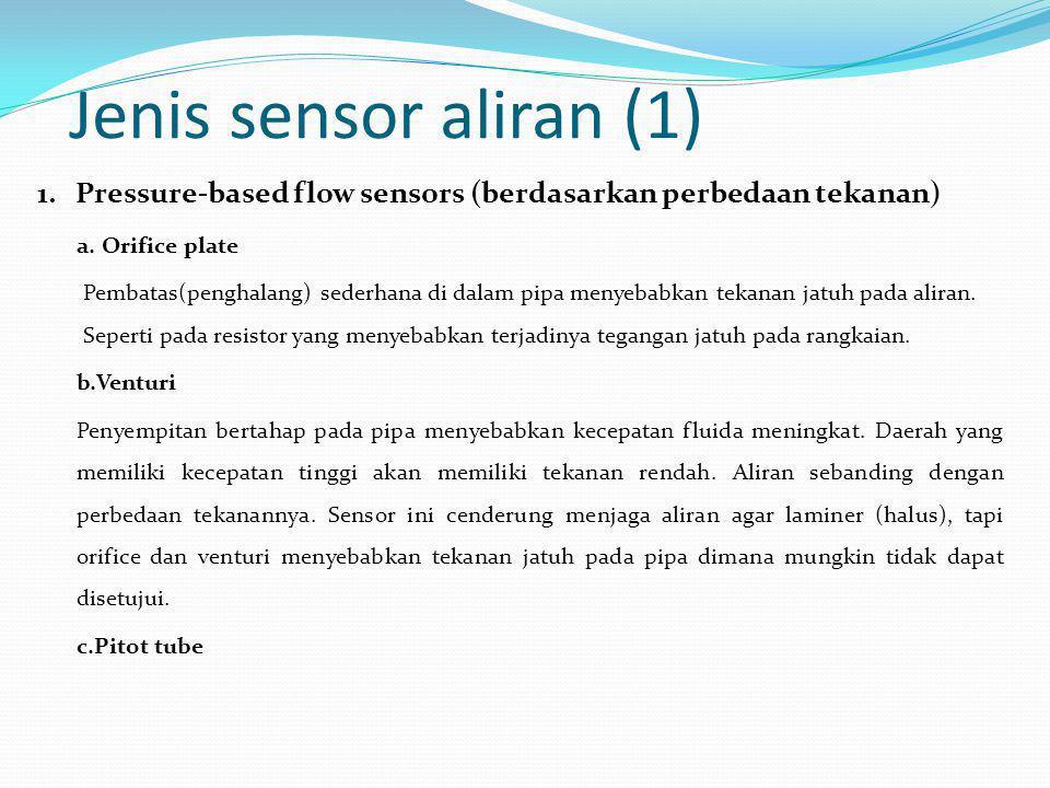 Jenis sensor aliran (1) 1. Pressure-based flow sensors (berdasarkan perbedaan tekanan) a. Orifice plate Pembatas(penghalang) sederhana di dalam pipa m