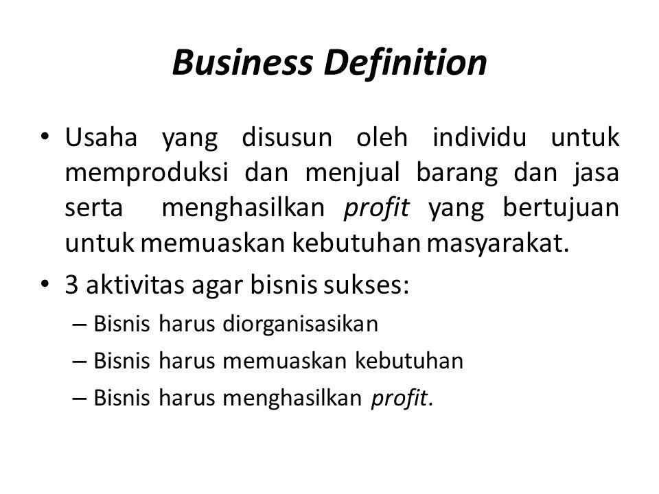 Business Definition • Usaha yang disusun oleh individu untuk memproduksi dan menjual barang dan jasa serta menghasilkan profit yang bertujuan untuk me