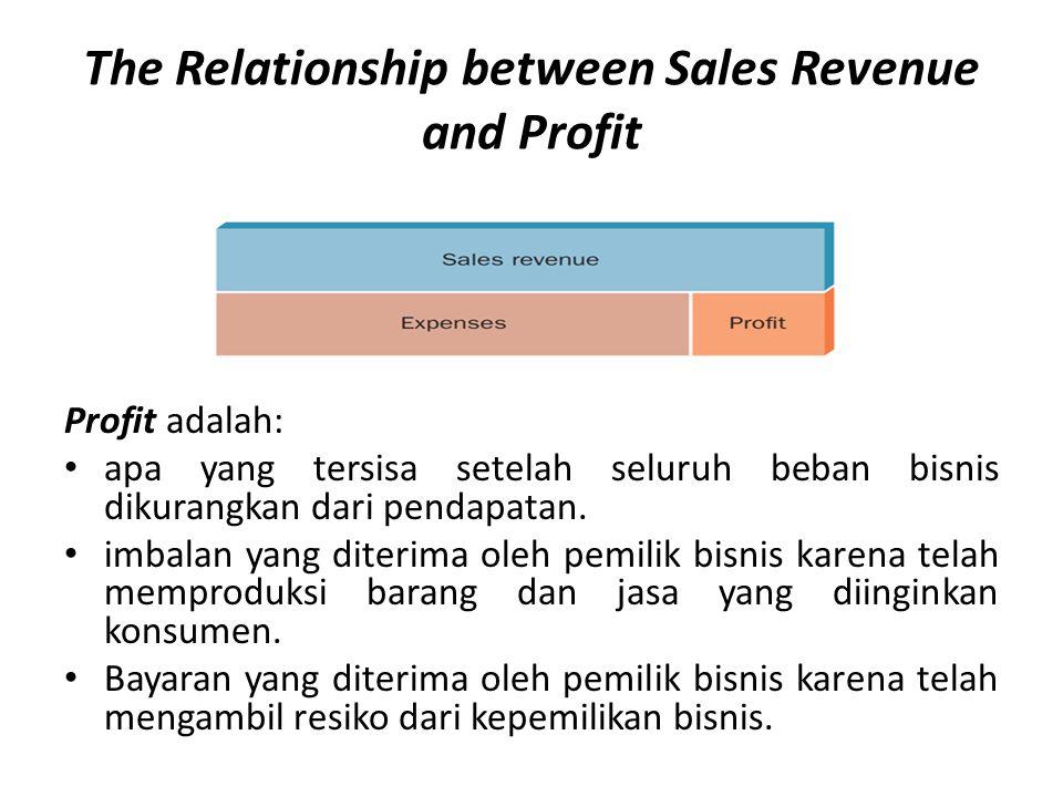 The Relationship between Sales Revenue and Profit Profit adalah: • apa yang tersisa setelah seluruh beban bisnis dikurangkan dari pendapatan. • imbala