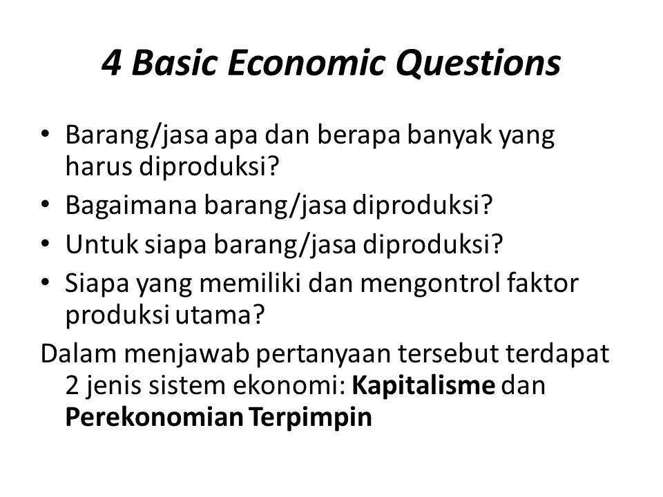4 Basic Economic Questions • Barang/jasa apa dan berapa banyak yang harus diproduksi? • Bagaimana barang/jasa diproduksi? • Untuk siapa barang/jasa di