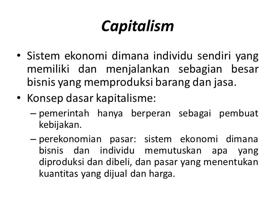 Capitalism • Sistem ekonomi dimana individu sendiri yang memiliki dan menjalankan sebagian besar bisnis yang memproduksi barang dan jasa. • Konsep das