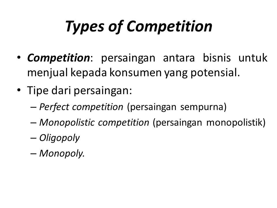 Types of Competition • Competition: persaingan antara bisnis untuk menjual kepada konsumen yang potensial. • Tipe dari persaingan: – Perfect competiti