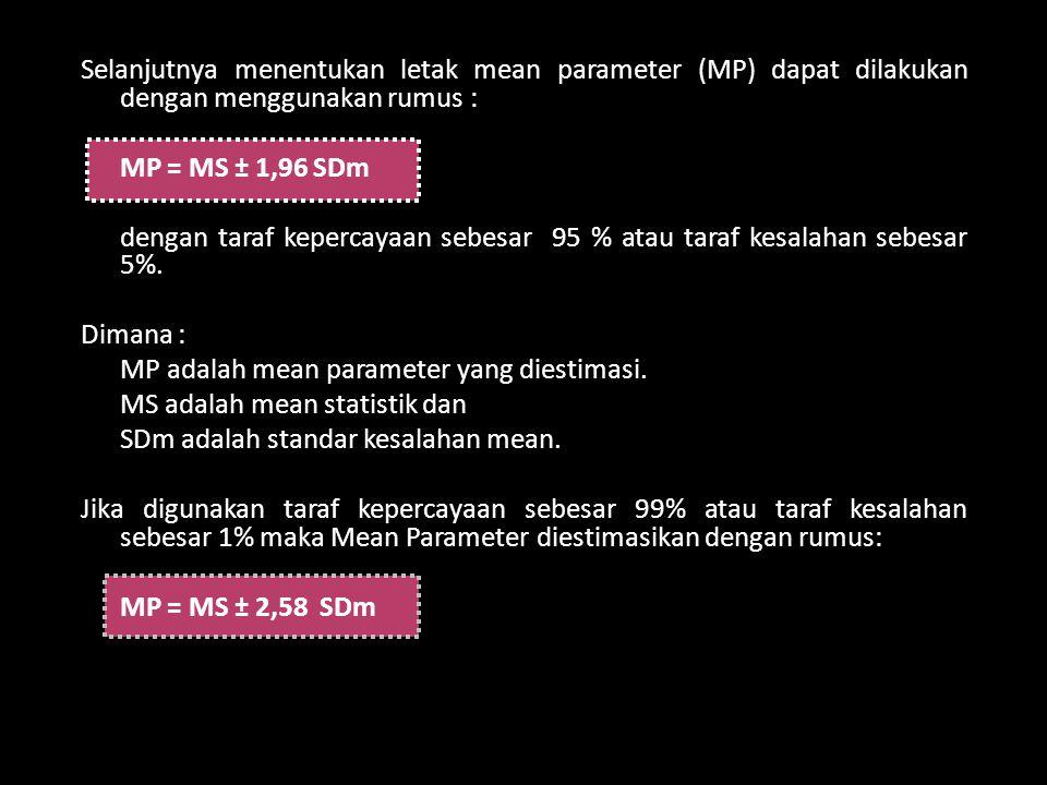 Selanjutnya menentukan letak mean parameter (MP) dapat dilakukan dengan menggunakan rumus : MP = MS ± 1,96 SDm dengan taraf kepercayaan sebesar 95 % a