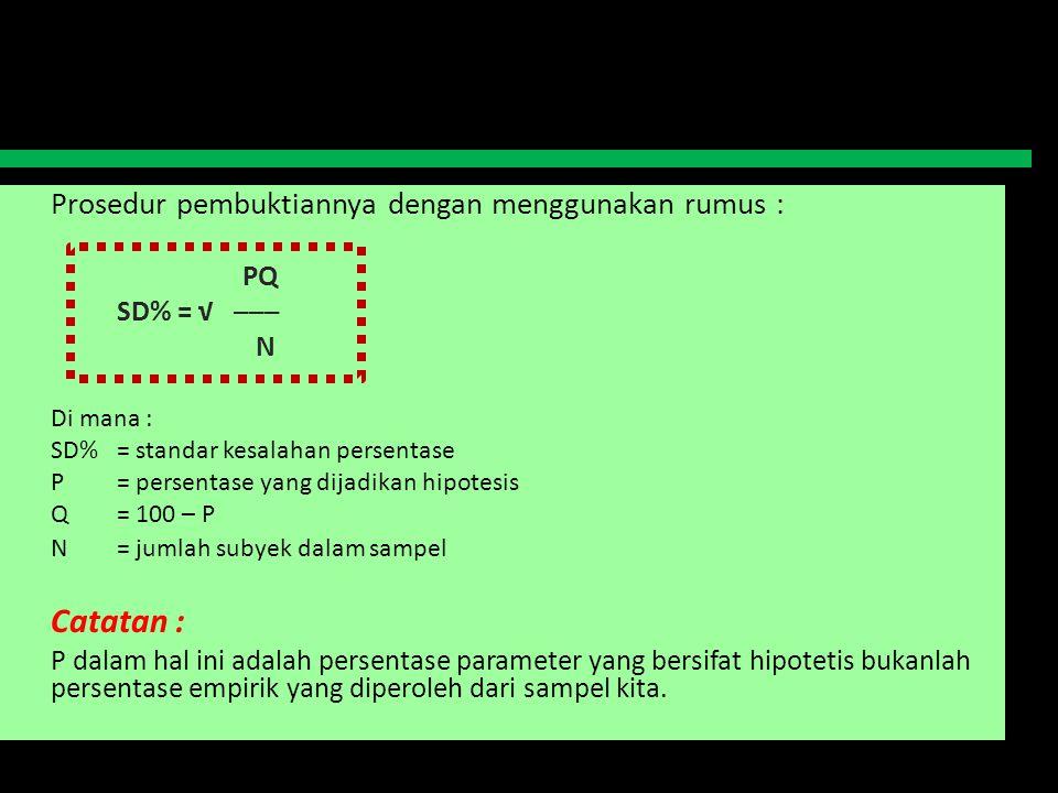 Prosedur pembuktiannya dengan menggunakan rumus : PQ SD% = √ ─── N Di mana : SD%= standar kesalahan persentase P= persentase yang dijadikan hipotesis