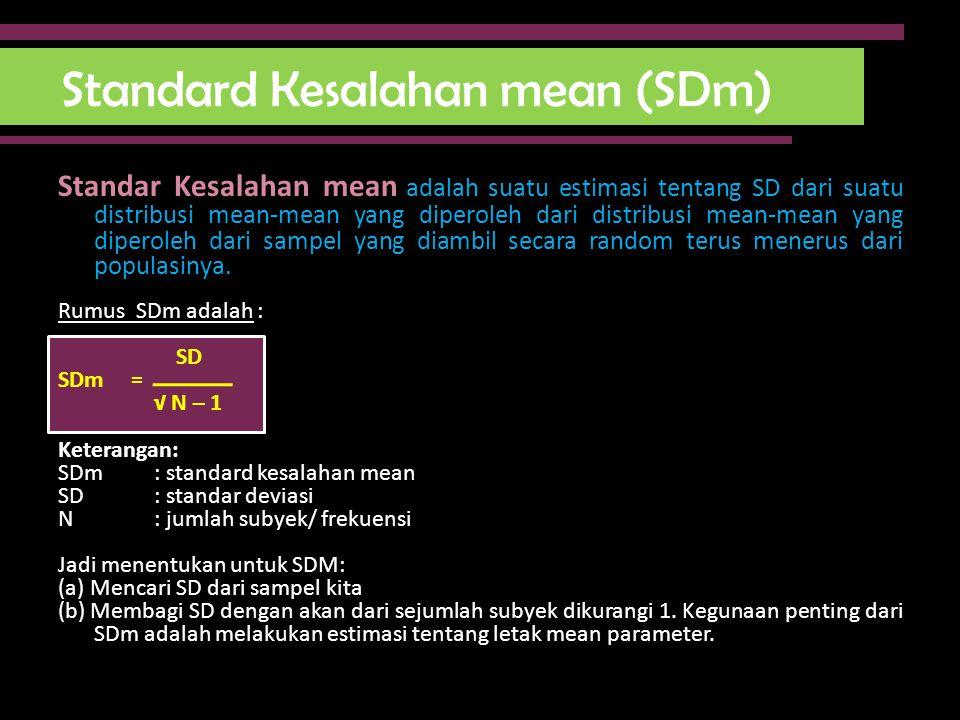 Standard Kesalahan mean (SDm) Standar Kesalahan mean adalah suatu estimasi tentang SD dari suatu distribusi mean-mean yang diperoleh dari distribusi m