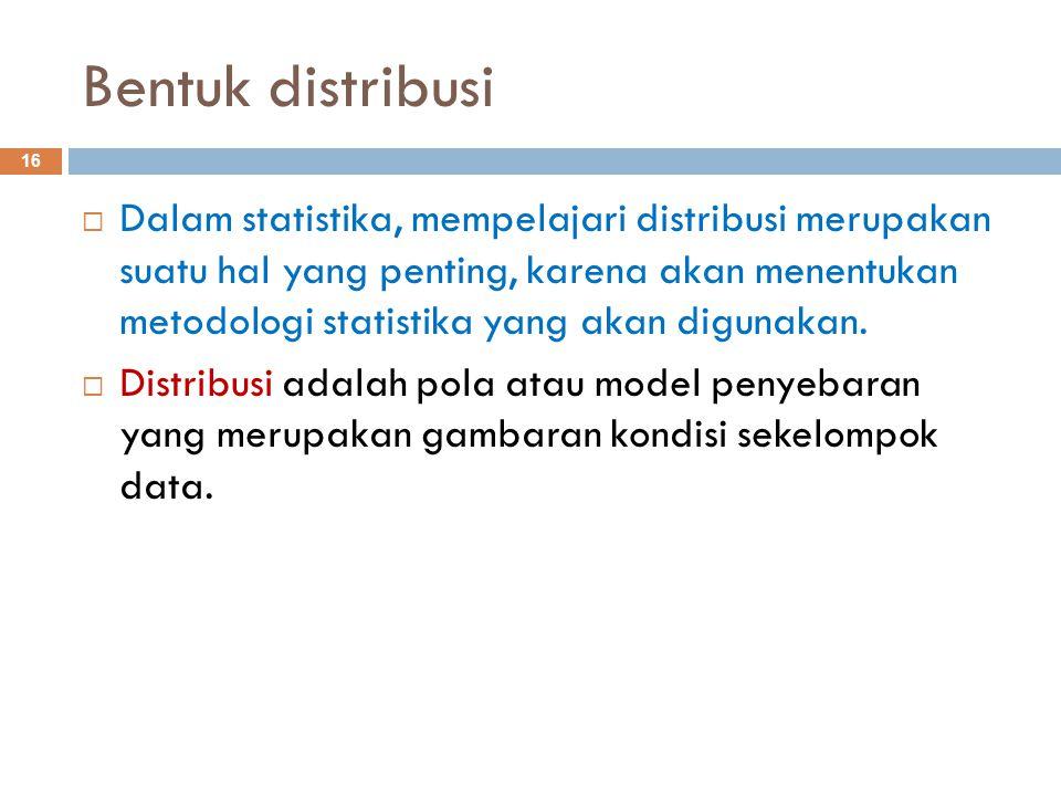 Ciri Bentuk Distribusi Simetri: 17 Mean = median = modus