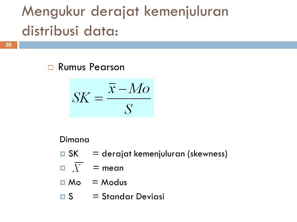 Interpretasi nilai derajat kemenjuluran: 21  Bila nilai SK = 0 atau mendekati nol, maka dikatakan distribusi data simetri  Bila nilai SK bertanda negatif, maka distribusi data menjulur ke kiri  Bila nilai SK bertanda positif, maka distribusi data menjulur ke kanan