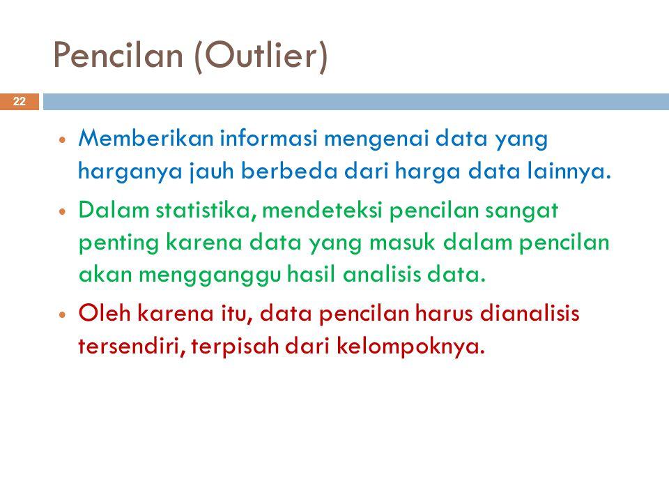 Langkah-langkah mendeteksi pencilan: 23  Hitung besarnya nilai sebaran tengah, yaitu dq = Q A – Q B  Hitung nilai batas bawah pencilan (BBP), yaitu : BBP = Q B – (1,5 x dq)  Hitung nilai batas atas pencilan (BAP), yaitu : BAP = Q A + (1,5 x dq)  Apabila terdapat data dengan nilai lebih kecil atau sama dengan BBP maka data tersebut disebut pencilan bawah.