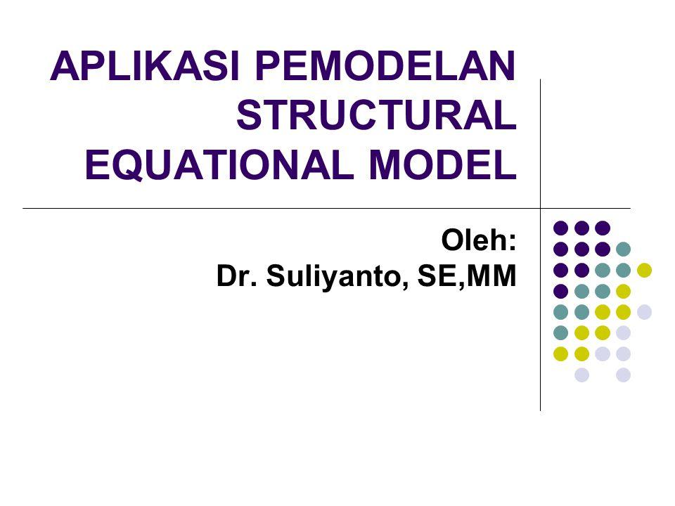 APLIKASI PEMODELAN STRUCTURAL EQUATIONAL MODEL Oleh: Dr. Suliyanto, SE,MM
