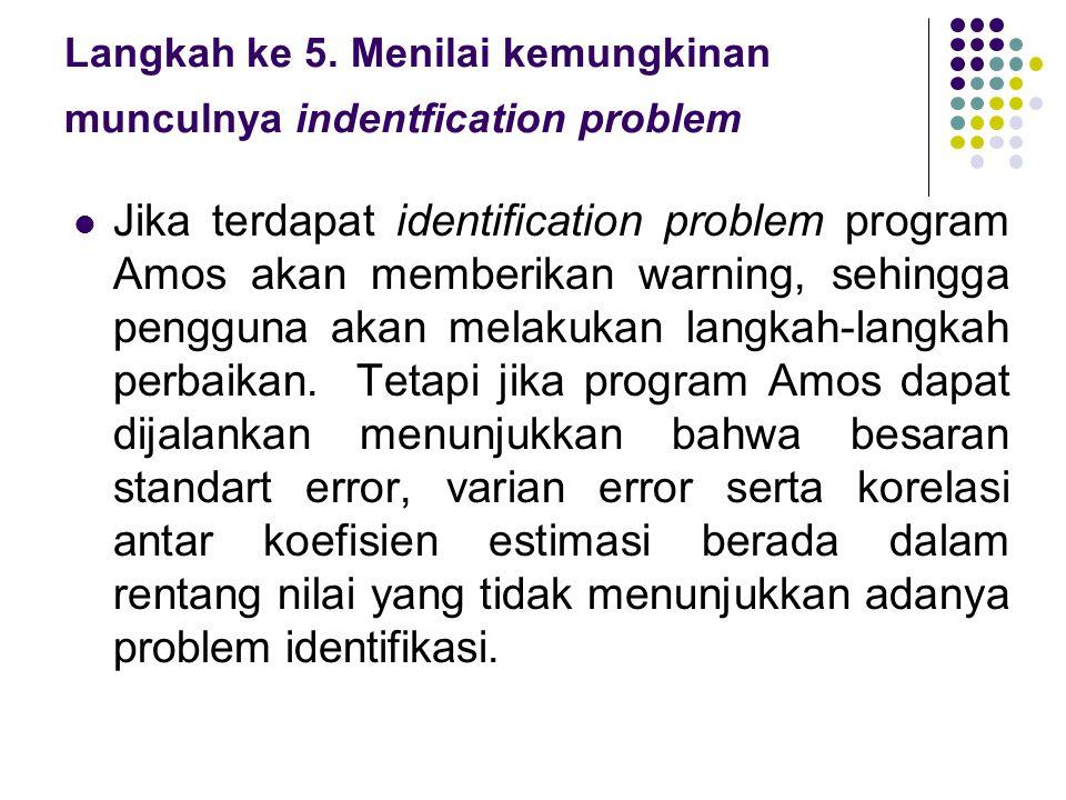 Langkah ke 5. Menilai kemungkinan munculnya indentfication problem  Jika terdapat identification problem program Amos akan memberikan warning, sehing