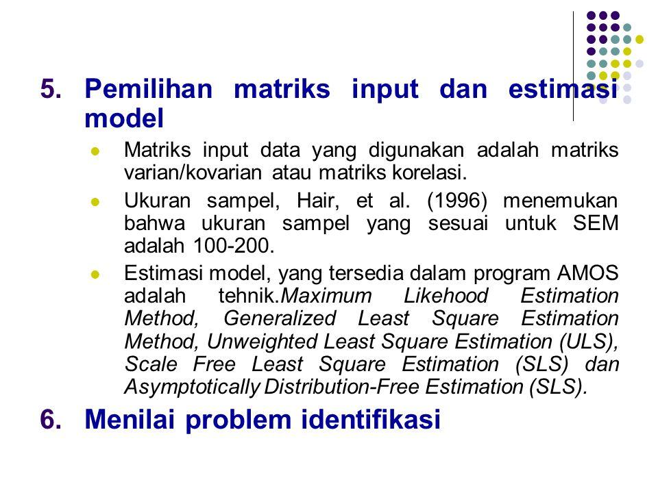 5.Pemilihan matriks input dan estimasi model  Matriks input data yang digunakan adalah matriks varian/kovarian atau matriks korelasi.  Ukuran sampel