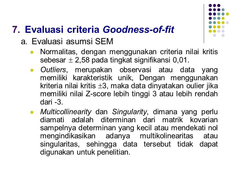 7.Evaluasi criteria Goodness-of-fit a.Evaluasi asumsi SEM  Normalitas, dengan menggunakan criteria nilai kritis sebesar  2,58 pada tingkat signifika