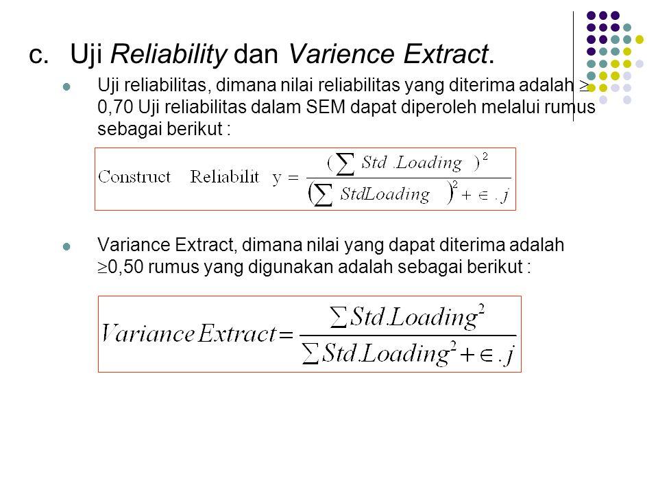 c.Uji Reliability dan Varience Extract.  Uji reliabilitas, dimana nilai reliabilitas yang diterima adalah  0,70 Uji reliabilitas dalam SEM dapat dip
