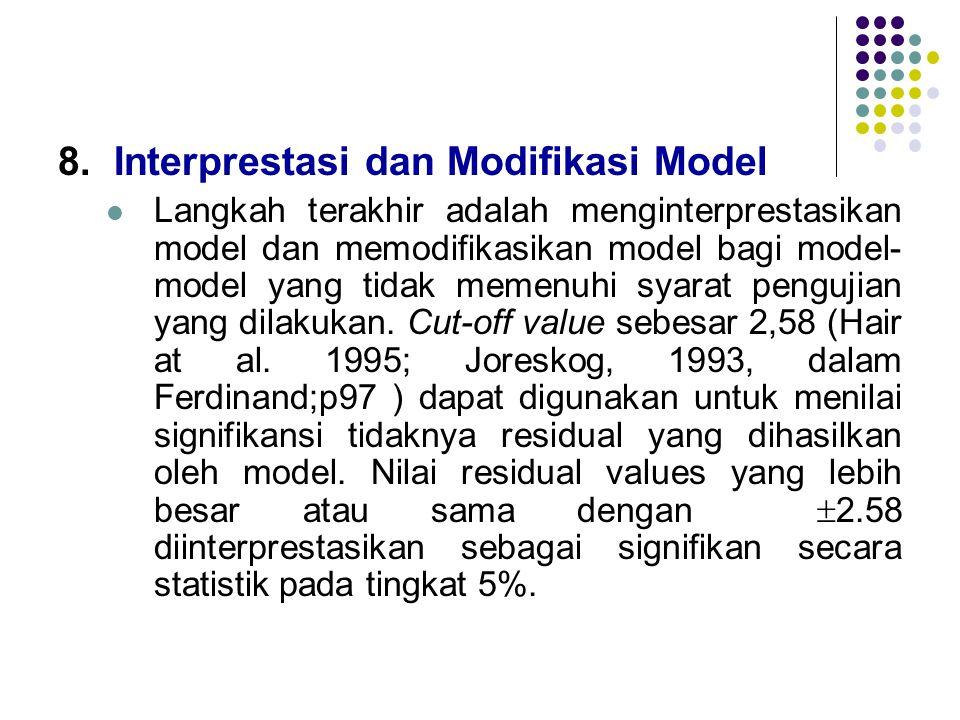 8.Interprestasi dan Modifikasi Model  Langkah terakhir adalah menginterprestasikan model dan memodifikasikan model bagi model- model yang tidak memen