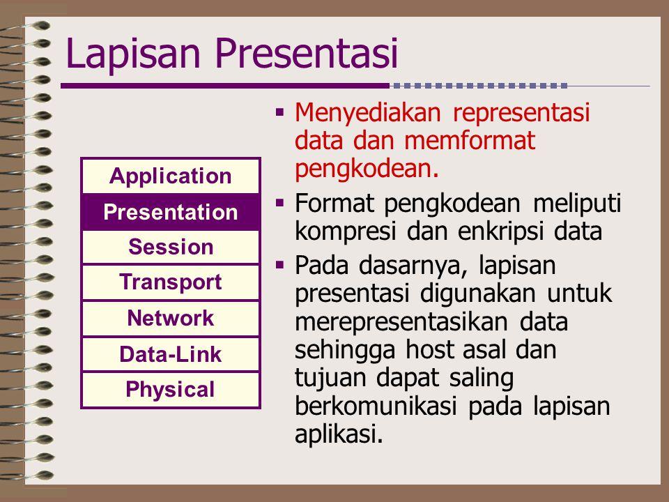 Lapisan Presentasi  Menyediakan representasi data dan memformat pengkodean.  Format pengkodean meliputi kompresi dan enkripsi data  Pada dasarnya,