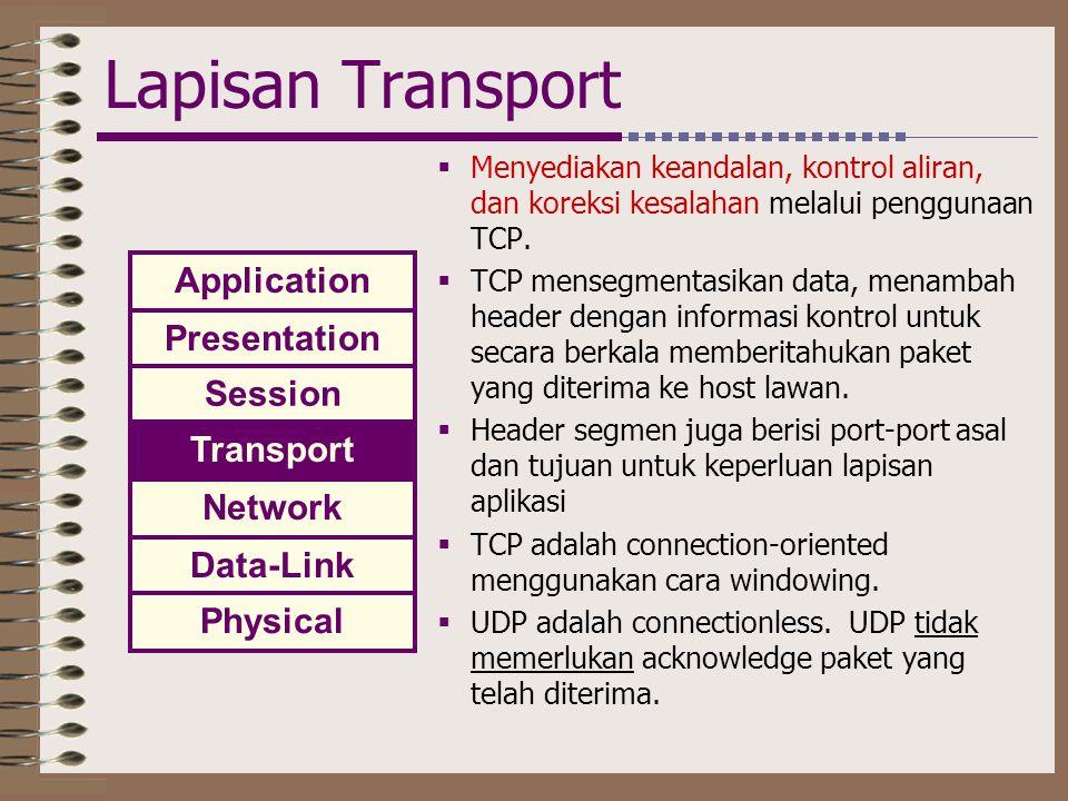 Lapisan Transport  Menyediakan keandalan, kontrol aliran, dan koreksi kesalahan melalui penggunaan TCP.  TCP mensegmentasikan data, menambah header