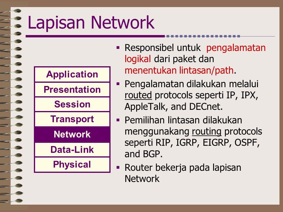 Lapisan Network  Responsibel untuk pengalamatan logikal dari paket dan menentukan lintasan/path.  Pengalamatan dilakukan melalui routed protocols se