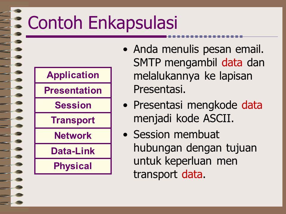 Contoh Enkapsulasi •Anda menulis pesan email. SMTP mengambil data dan melalukannya ke lapisan Presentasi. •Presentasi mengkode data menjadi kode ASCII