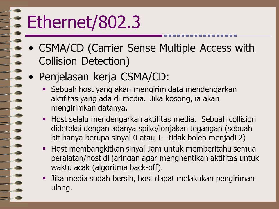 Ethernet/802.3 •CSMA/CD (Carrier Sense Multiple Access with Collision Detection) •Penjelasan kerja CSMA/CD:  Sebuah host yang akan mengirim data mend