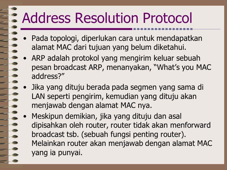 Address Resolution Protocol •Pada topologi, diperlukan cara untuk mendapatkan alamat MAC dari tujuan yang belum diketahui. •ARP adalah protokol yang m