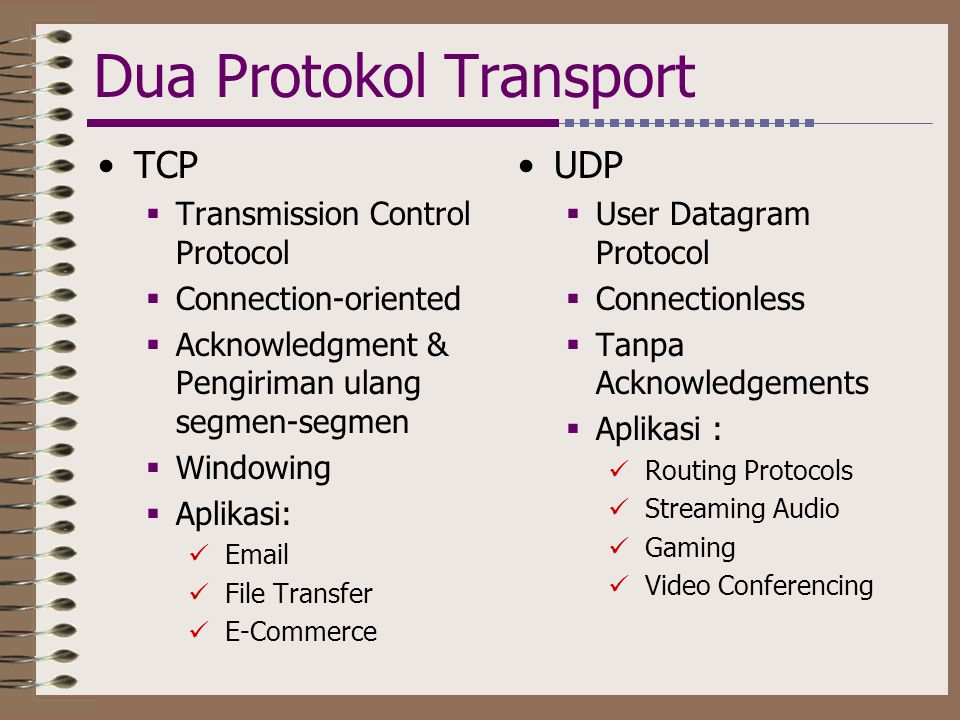 Dua Protokol Transport •TCP  Transmission Control Protocol  Connection-oriented  Acknowledgment & Pengiriman ulang segmen-segmen  Windowing  Aplikasi:  Email  File Transfer  E-Commerce •UDP  User Datagram Protocol  Connectionless  Tanpa Acknowledgements  Aplikasi :  Routing Protocols  Streaming Audio  Gaming  Video Conferencing