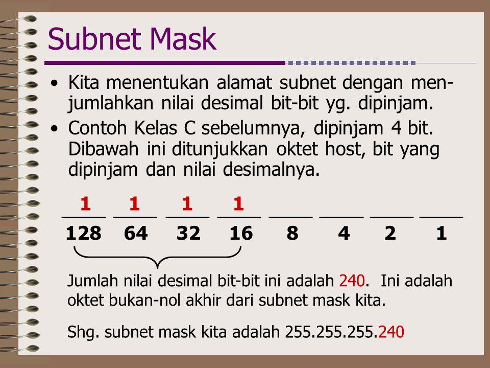 Subnet Mask •Kita menentukan alamat subnet dengan men- jumlahkan nilai desimal bit-bit yg. dipinjam. •Contoh Kelas C sebelumnya, dipinjam 4 bit. Dibaw