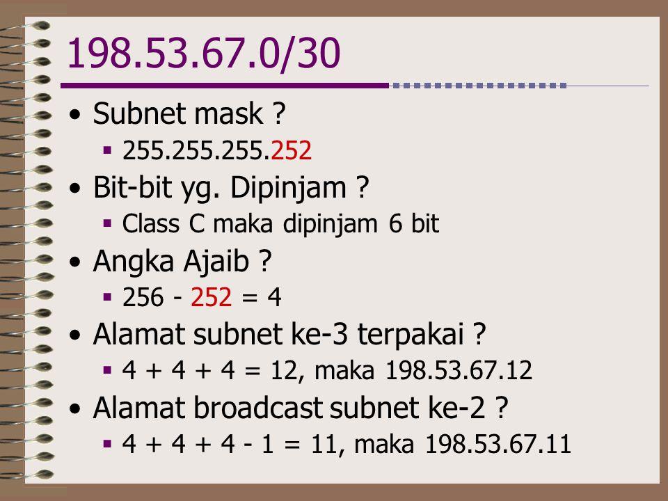 198.53.67.0/30 •Subnet mask ?  255.255.255.252 •Bit-bit yg. Dipinjam ?  Class C maka dipinjam 6 bit •Angka Ajaib ?  256 - 252 = 4 •Alamat subnet ke