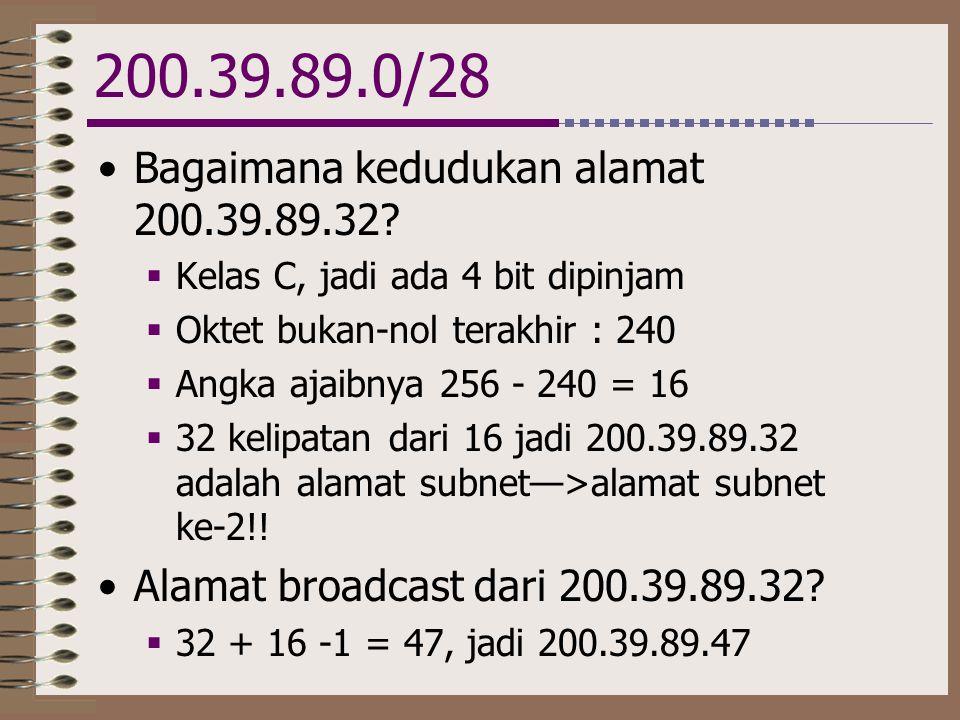 200.39.89.0/28 •Bagaimana kedudukan alamat 200.39.89.32?  Kelas C, jadi ada 4 bit dipinjam  Oktet bukan-nol terakhir : 240  Angka ajaibnya 256 - 24