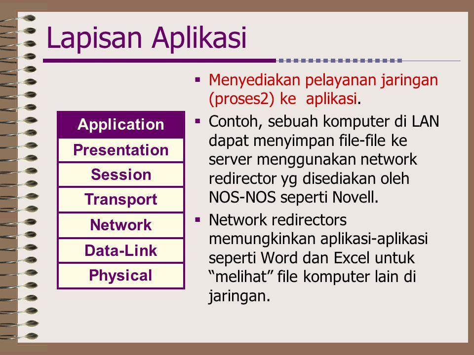 Lapisan Aplikasi  Menyediakan pelayanan jaringan (proses2) ke aplikasi.  Contoh, sebuah komputer di LAN dapat menyimpan file-file ke server mengguna