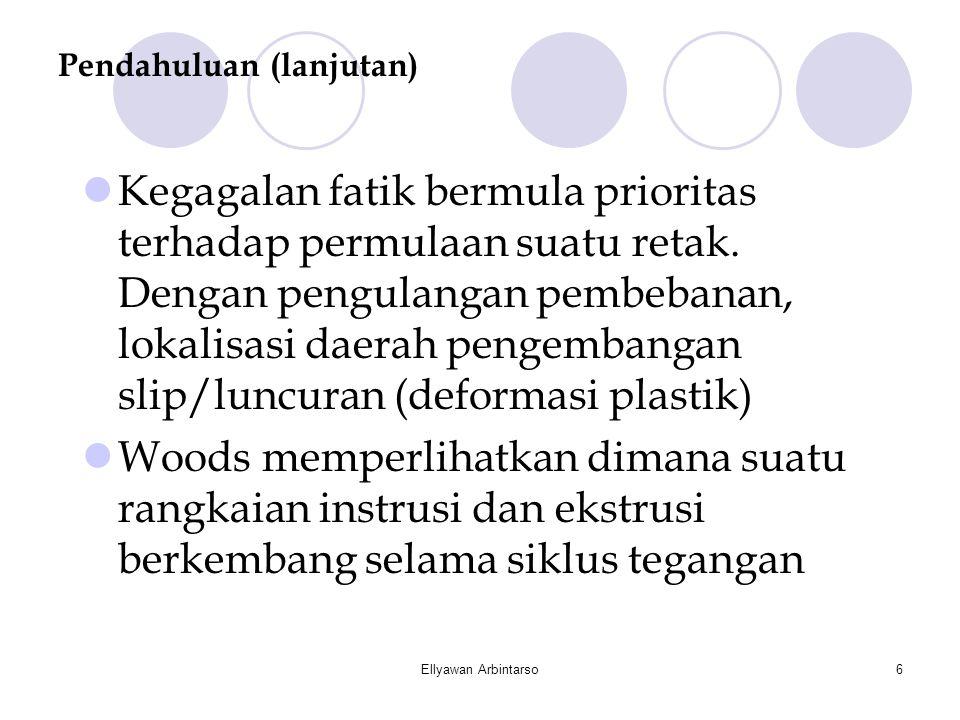 Ellyawan Arbintarso6 Pendahuluan (lanjutan)  Kegagalan fatik bermula prioritas terhadap permulaan suatu retak. Dengan pengulangan pembebanan, lokalis