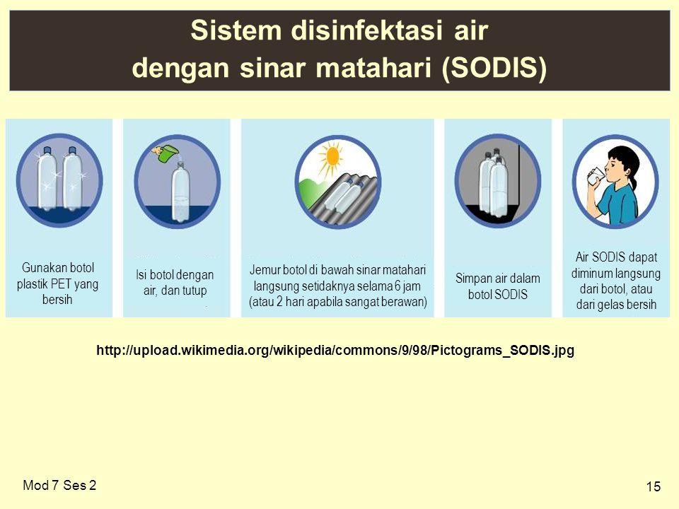 15 Sistem disinfektasi air dengan sinar matahari (SODIS) Mod 7 Ses 2 http://upload.wikimedia.org/wikipedia/commons/9/98/Pictograms_SODIS.jpg Gunakan b