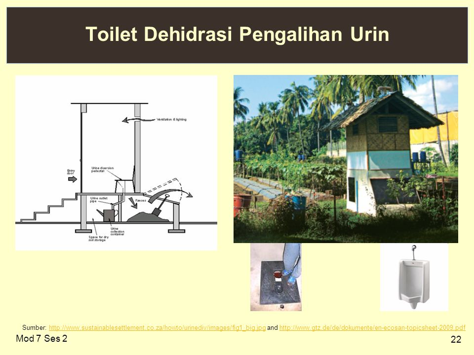22 Toilet Dehidrasi Pengalihan Urin Sumber: http://www.sustainablesettlement.co.za/howto/urinediv/images/fig1_big.jpg and http://www.gtz.de/de/dokumente/en-ecosan-topicsheet-2009.pdfhttp://www.sustainablesettlement.co.za/howto/urinediv/images/fig1_big.jpghttp://www.gtz.de/de/dokumente/en-ecosan-topicsheet-2009.pdf Mod 7 Ses 2