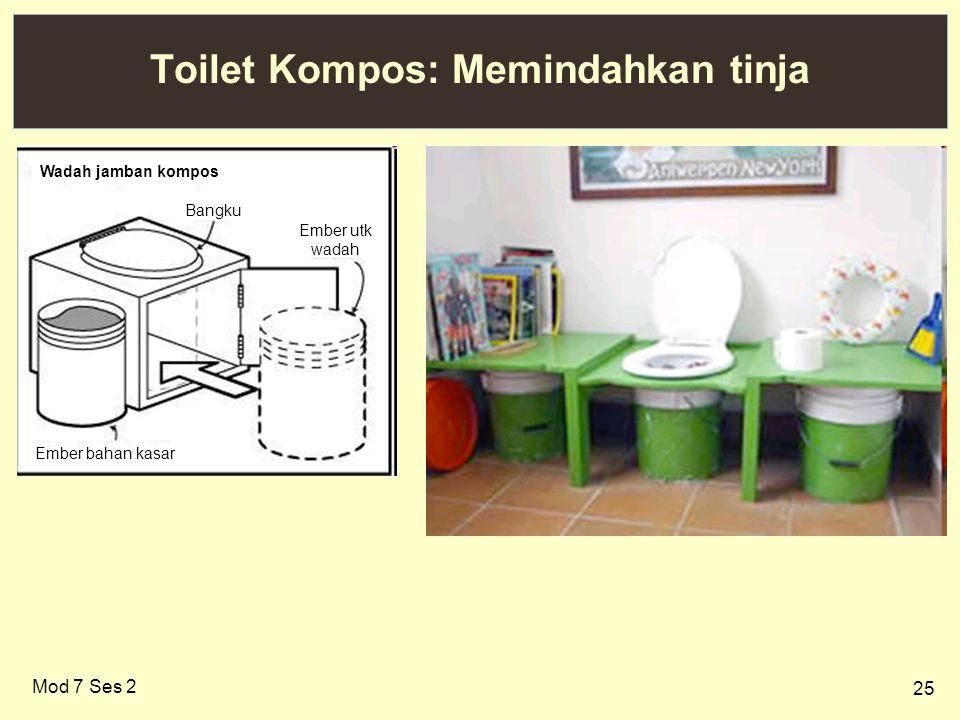 25 Toilet Kompos: Memindahkan tinja Mod 7 Ses 2 Wadah jamban kompos Bangku Ember utk wadah Ember bahan kasar