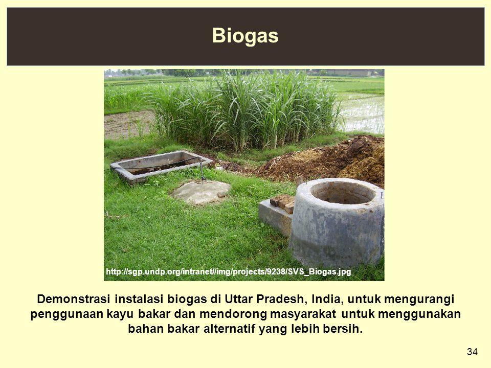 34 Biogas http://sgp.undp.org/intranet//img/projects/9238/SVS_Biogas.jpg Demonstrasi instalasi biogas di Uttar Pradesh, India, untuk mengurangi penggu