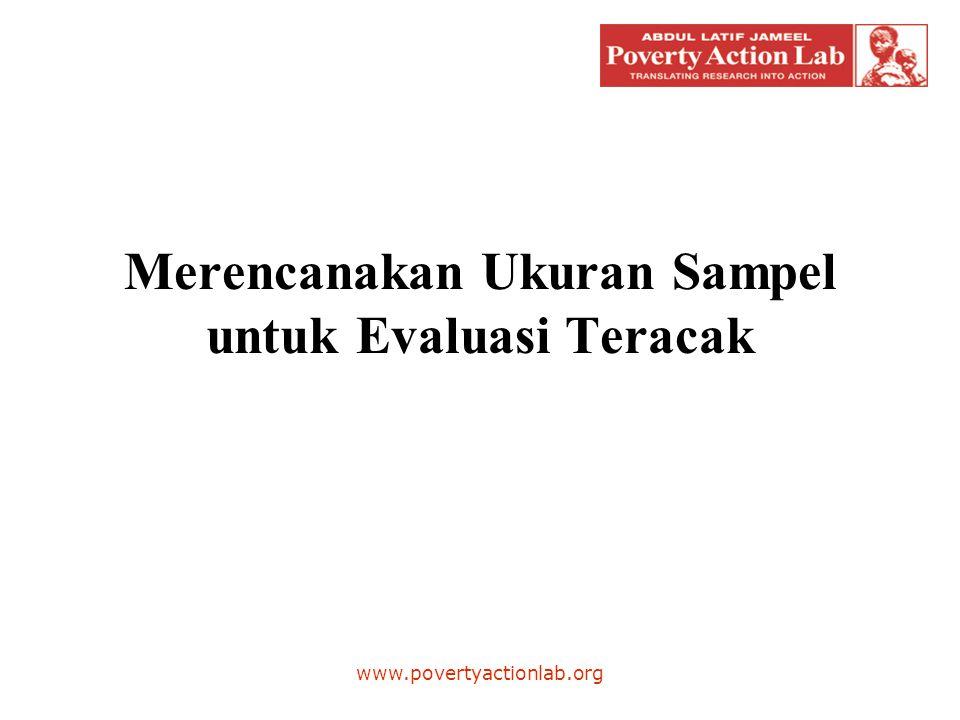 Jumlah minimum GP, Penentuan Desa per GP •Kita mencari jumlah minimum GP yang diperlukan apabila melakukan survei pada 1 desa per GP: –Jawaban: 553