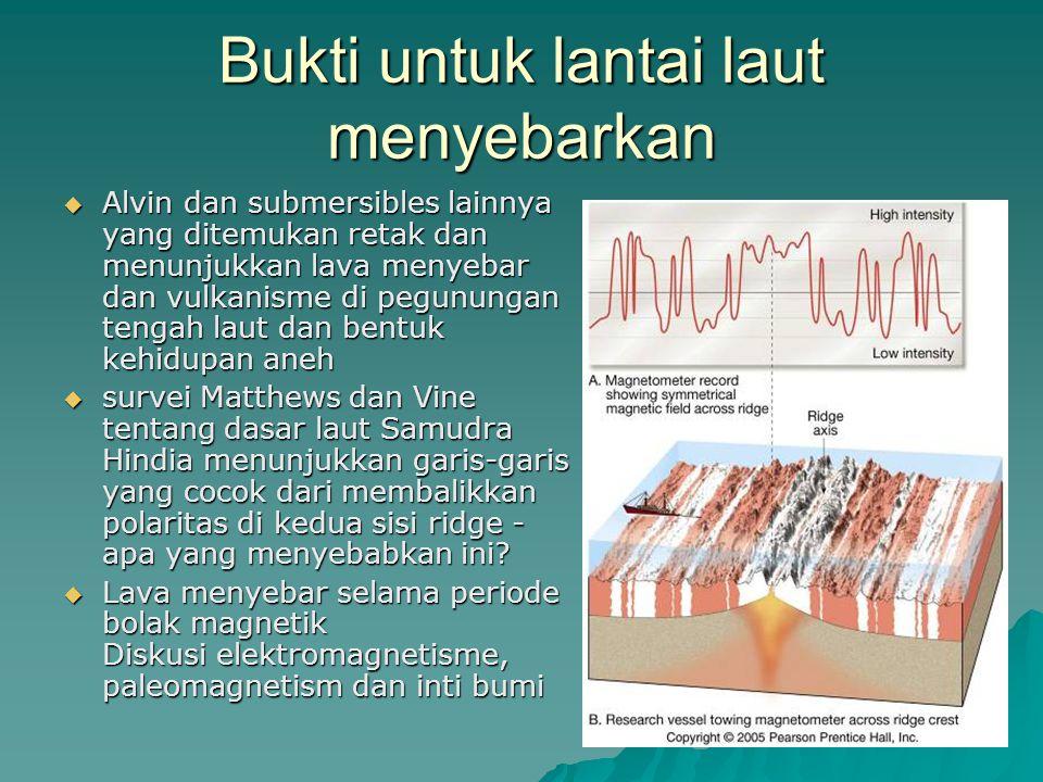 Bukti untuk lantai laut menyebarkan  Alvin dan submersibles lainnya yang ditemukan retak dan menunjukkan lava menyebar dan vulkanisme di pegunungan t