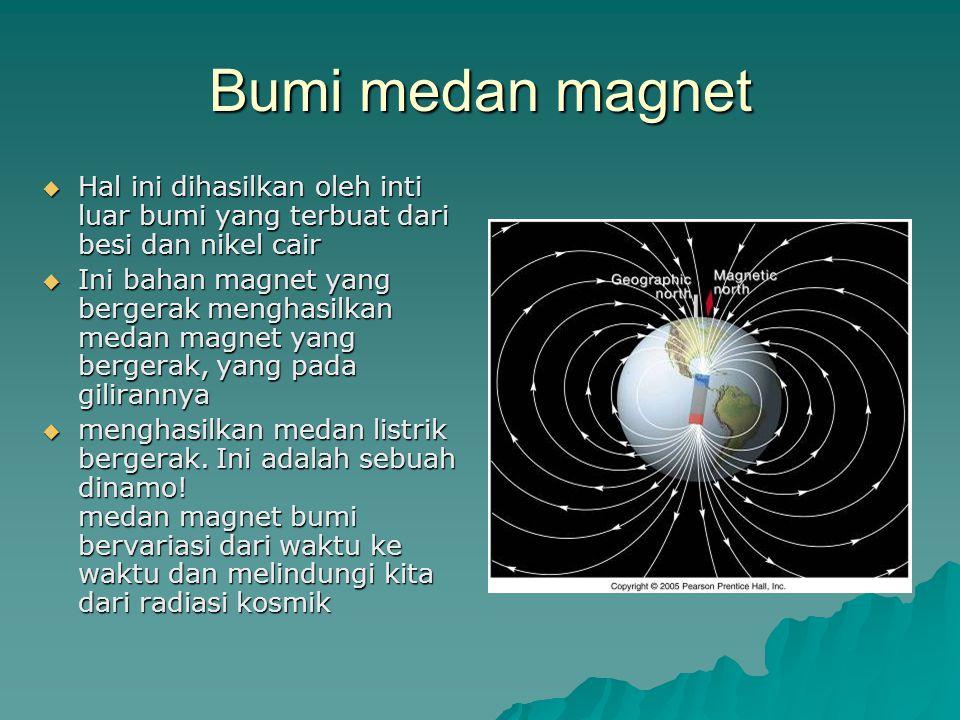 Bumi medan magnet  Hal ini dihasilkan oleh inti luar bumi yang terbuat dari besi dan nikel cair  Ini bahan magnet yang bergerak menghasilkan medan m