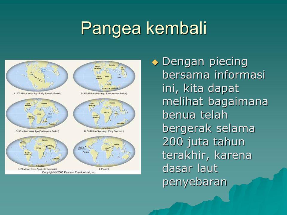 Pangea kembali  Dengan piecing bersama informasi ini, kita dapat melihat bagaimana benua telah bergerak selama 200 juta tahun terakhir, karena dasar